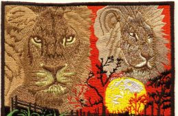 lions on embroidered patch